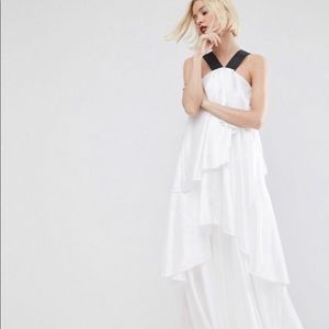 ASOS white layered frill gown (Size 6)
